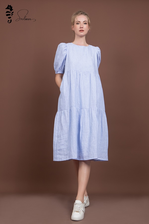 Váy xòe vải đũi