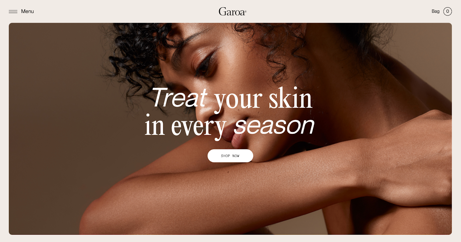 garoa skincare best website design award winner 2020
