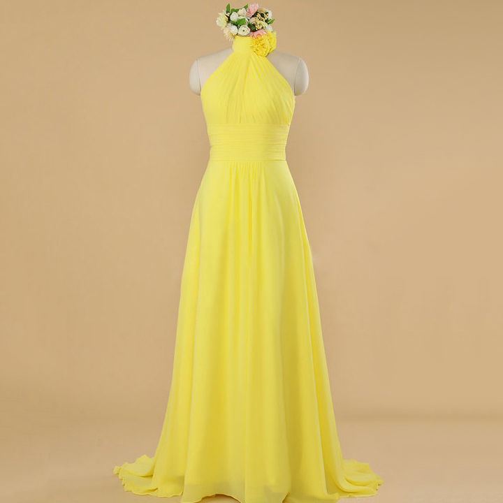 High Neck Halter Flower Floor Length Bridesmaid Dress, Sunbeam A ...