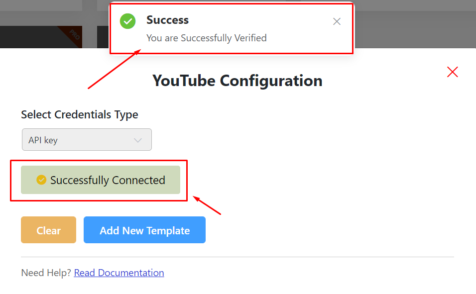 YouTube feed Successful Verification