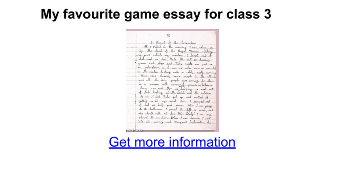 my favourite game essay for class google docs
