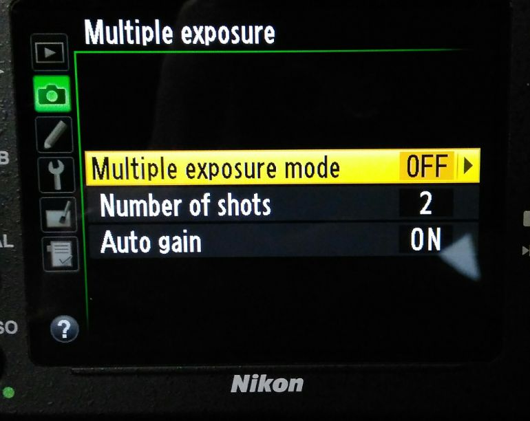 Dual exposure menu on Nikon camera
