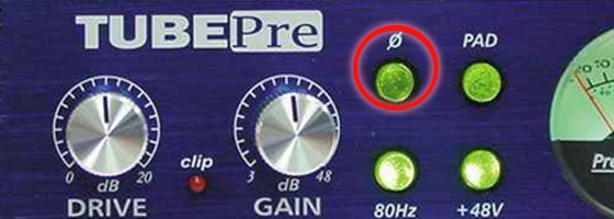 The phase switch on a preamp