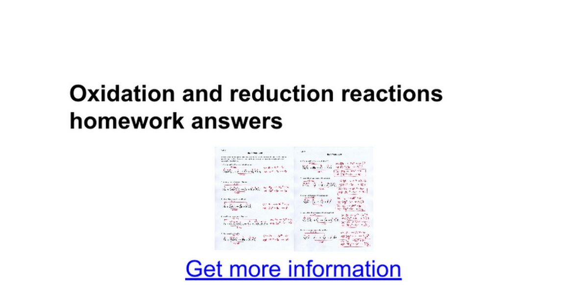 Oxidation and reduction reactions homework answers Google Docs – Oxidation Reduction Reactions Worksheet