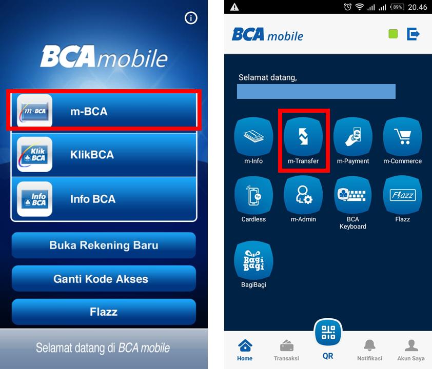 Pilih menu transfer pada Mbanking BCA anda