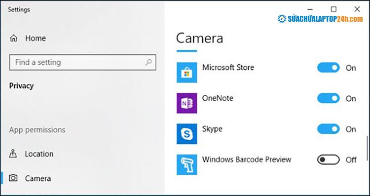 Chọn ứng dụng bạn muốn cấp quyền truy cập Camera