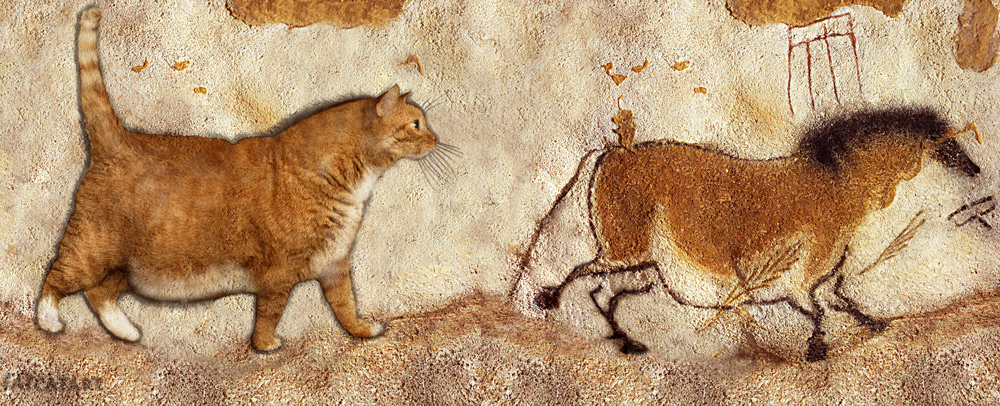 Cave painting depicting a cat.