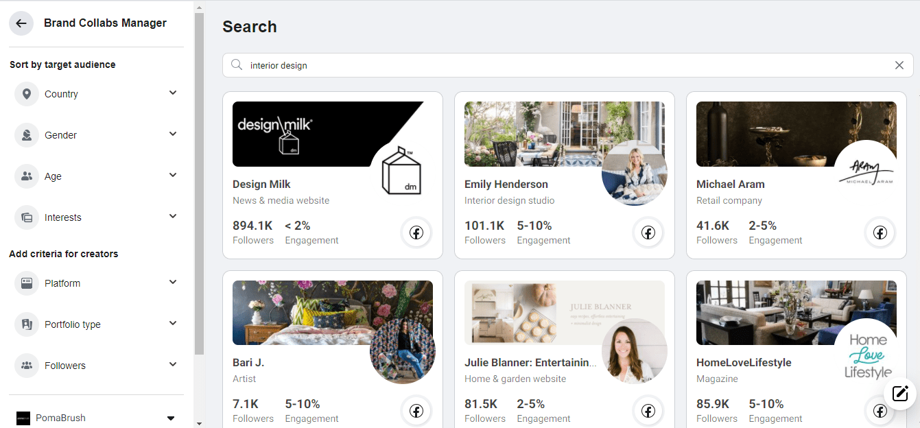 facebook influencers free search