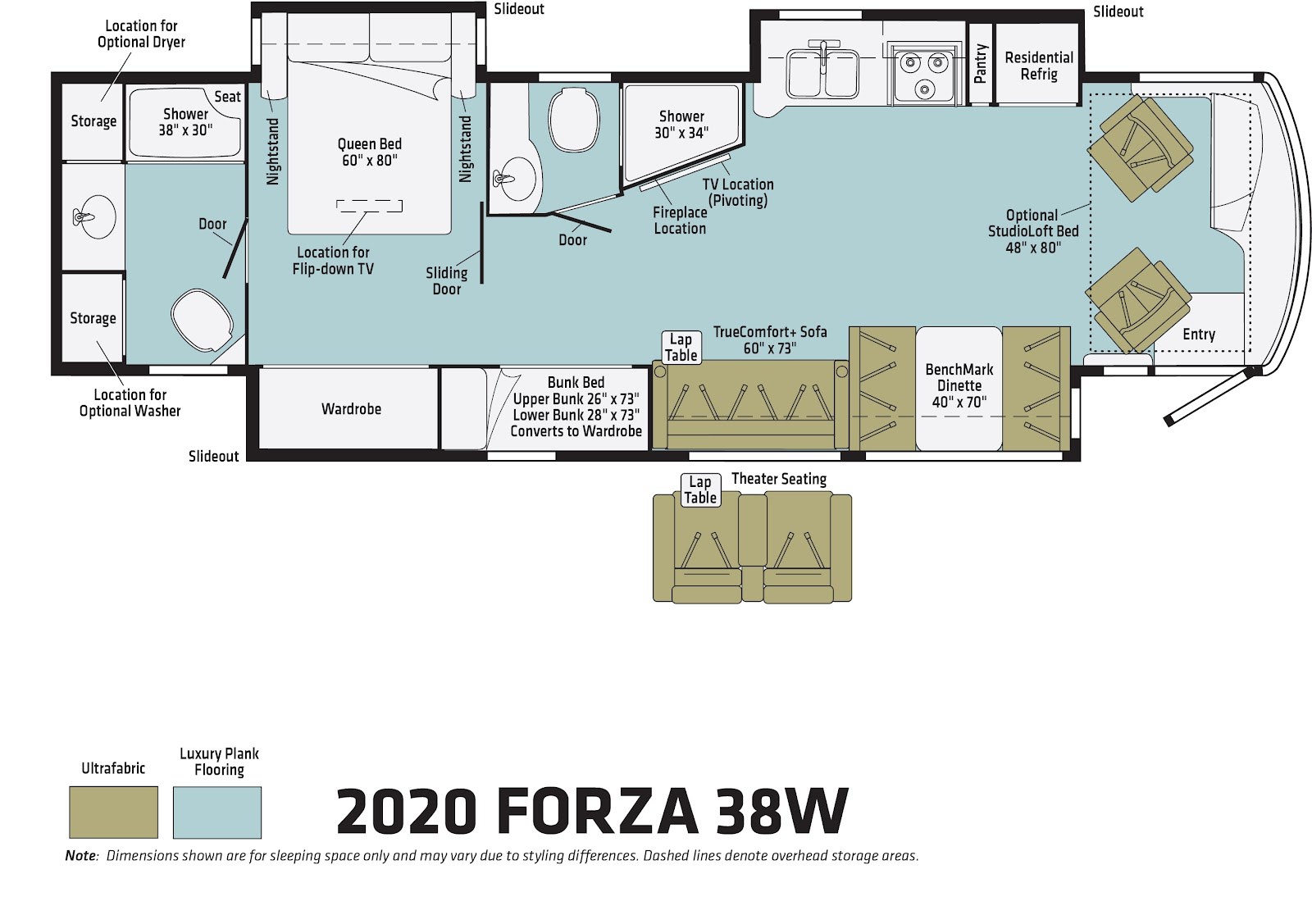 Floor plan for the family-friendly Winnebago Forza 38W Class A.