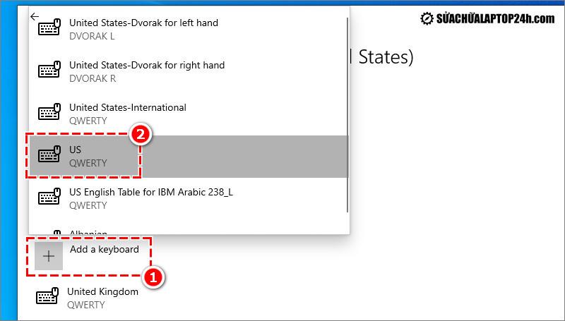 Thiết lập chuẩn bàn phím US để khắc phục lỗi bàn phím laptop bị loạn chữ