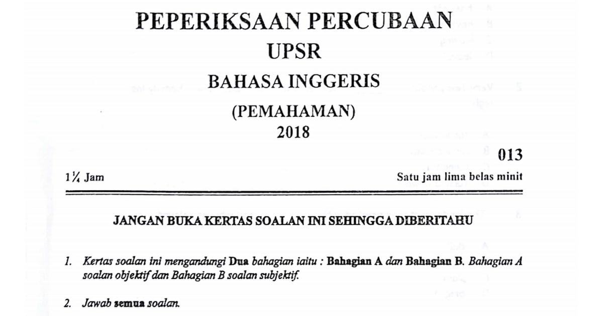 Kelantan Percubaan 2018 Bi Pemahaman Pdf Google Drive