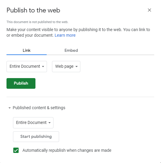 'Publish to the web' view in Power BI