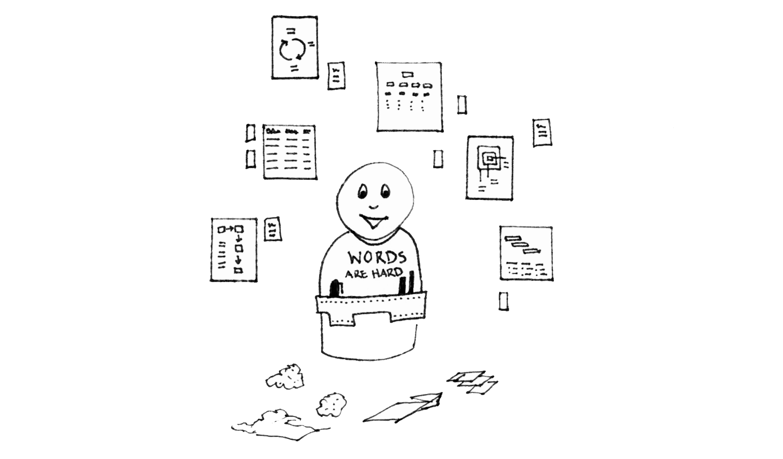 A resolved looking weeble person representing the author, wearing a toolbelt of sharpies and pens and a t-shirt that says Words Are Hard standing against a wall of diagrams and deliverables. At their feet, the refuse of ideas that didnt make the cut