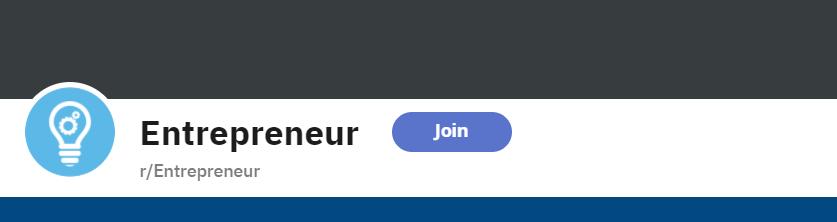 Screenshot of Subreddit  r/Entrepreneur