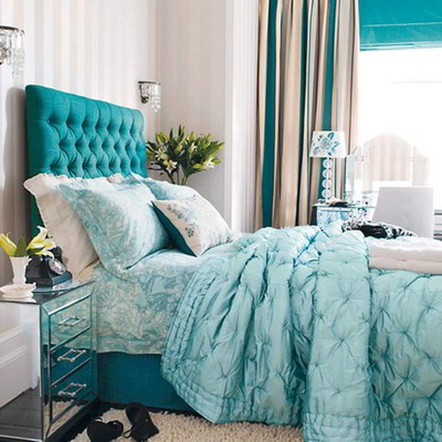 decorar dormitorio color turquesa