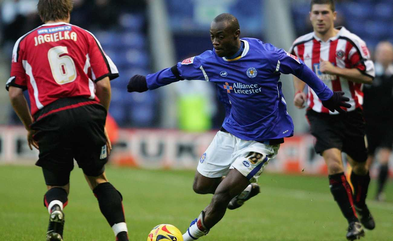 Sheffield United defender Phil Jagielka trying to stop former Leicester City winger Momo Sylla in a 2005 Championship match