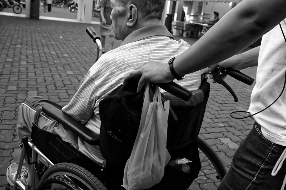 caring for elderly parents at home - old gentleman in wheelchair