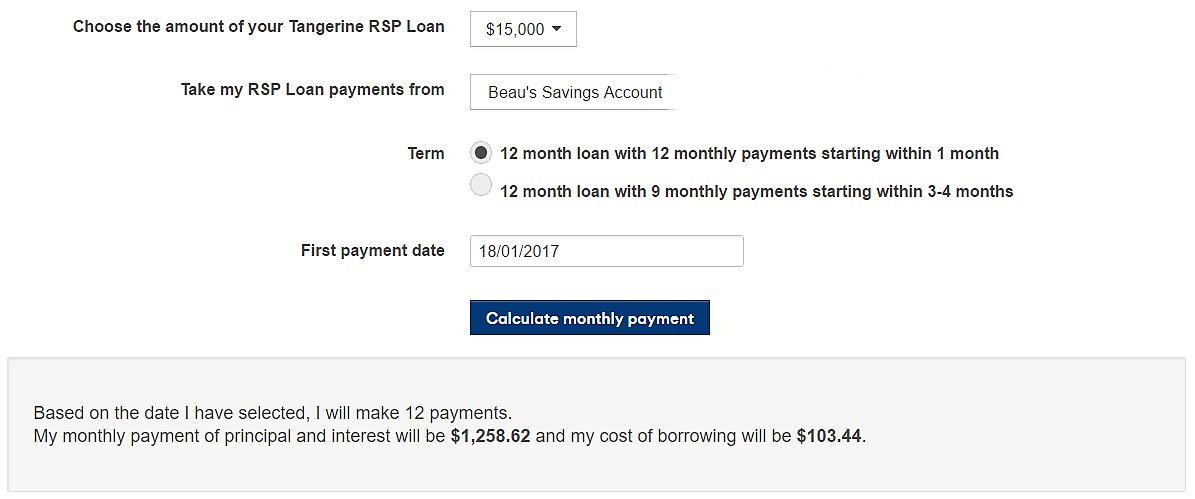 tangerine RRSP loan calculation