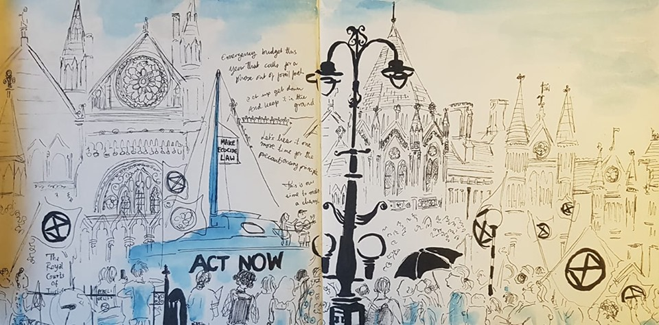Ink and watercolour sketch of the XR blue boat and crowd outside the Royal Courts of Justice