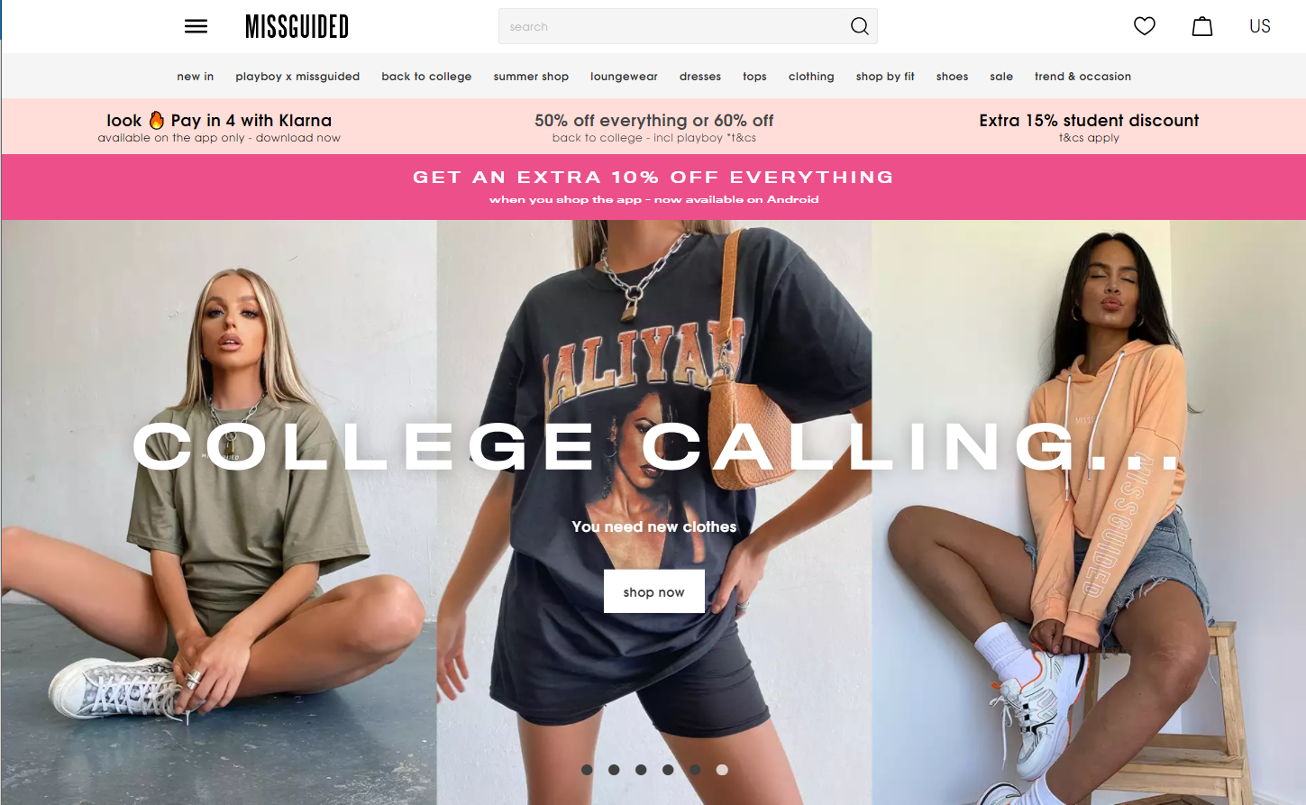 Missguided geographic homepage personalization