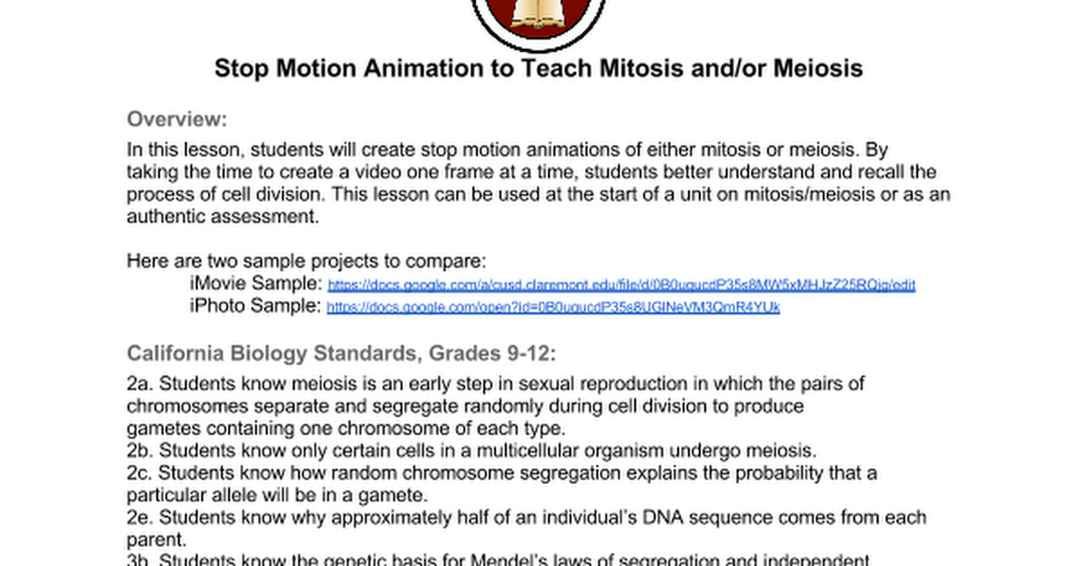 MitosisMeiosis Stop Motion Animation Lesson Instructions – Mitosis Worksheet Middle School