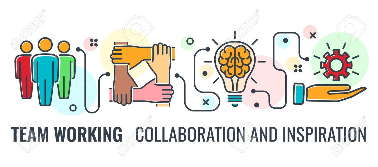 Teamwork Or Collaboration Horizontal Banner With Colored Line.. Royalty Free Cliparts, Vectors, And Stock Illustration. Image 140892522.