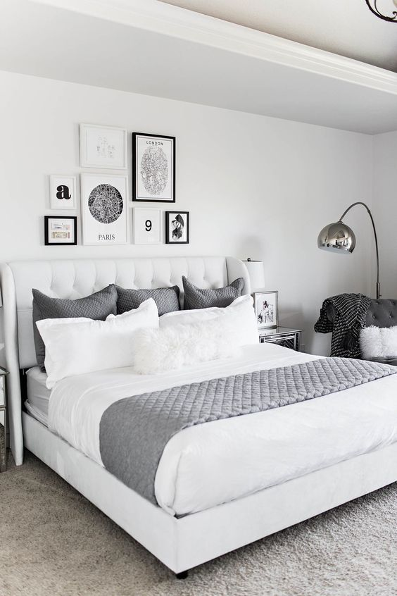 Modern Gray and White Bedroom