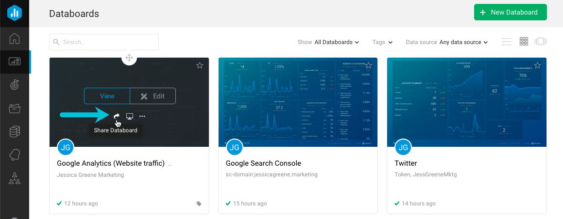 embed a databox google analytics dashboard - step 1