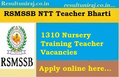 RSMSSB NTT Teacher Recruitment 2018