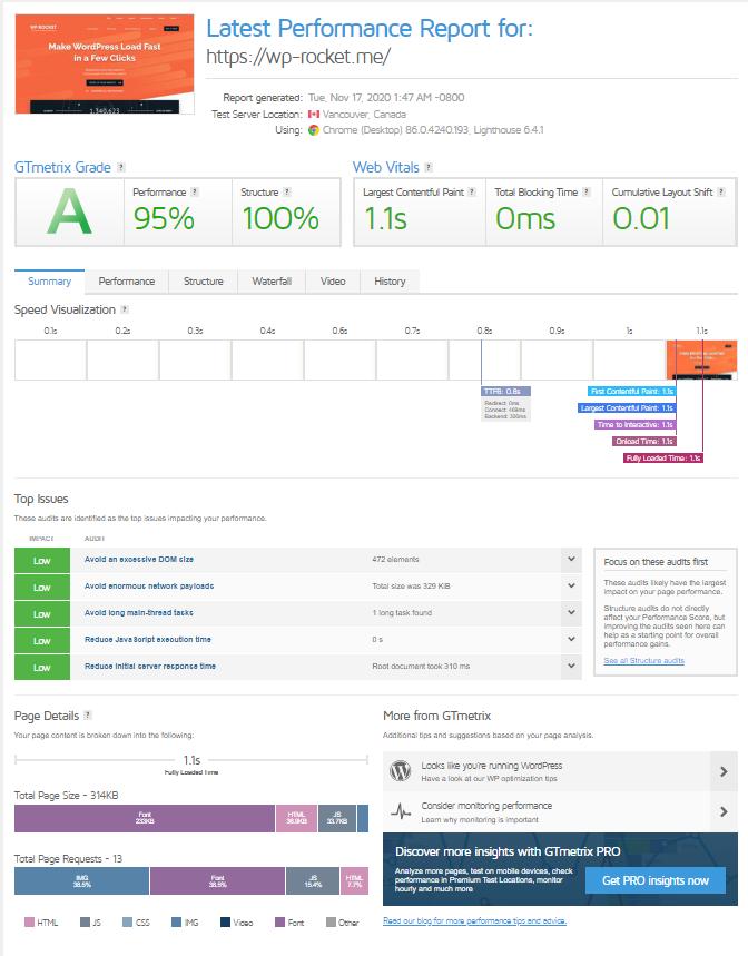 GTmetrix Report's new Summary tab