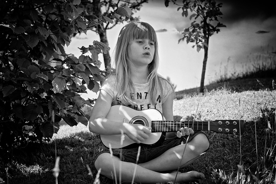 Person, Human, Child, Girl, Guitar, Music, Nature, Out