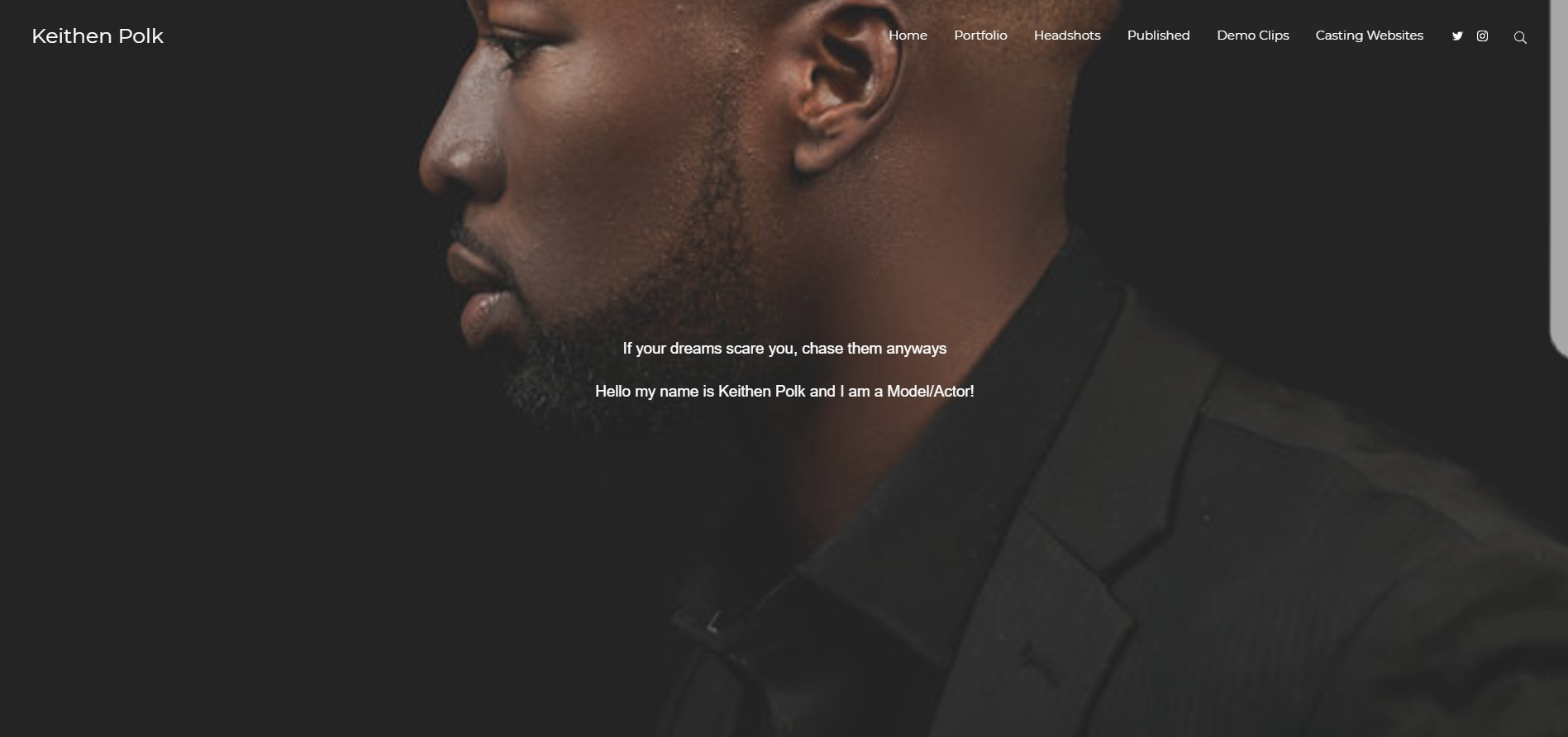 An example of a homepage for model portfolio website