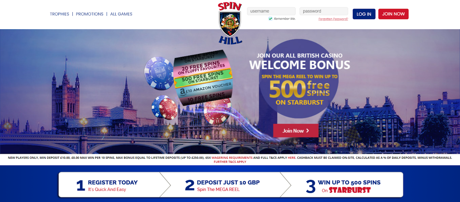 Spin Hill Casino Homepage