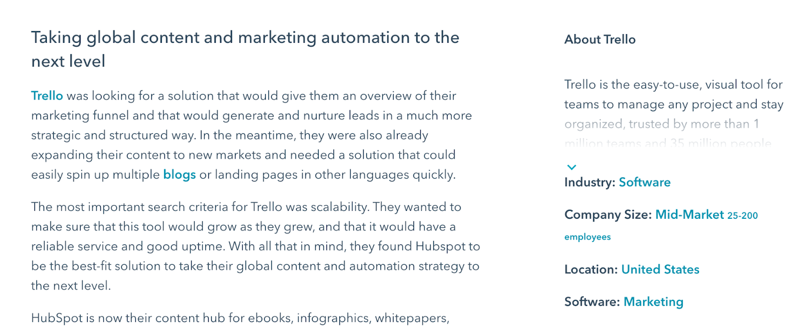 HubSpot goes on to provide some context on their customer Trello