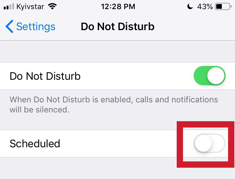 "Turn on the ""Scheduled"" function of the 'Do Not Disturb' mode - iPhone"