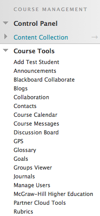 Screenshot showing the Rubrics link in the expanded Course Tools.