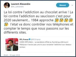 laurent alexandre loi addiction au chocolat