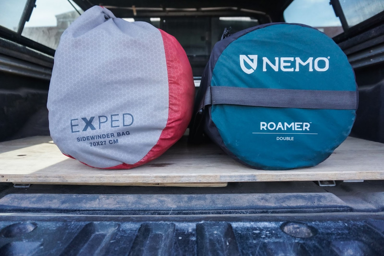 Packed Roamer Double and Megamat 10 side by side