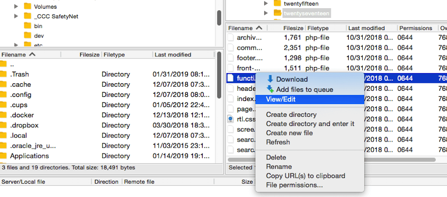 Seleccionar el archivo functions.php para editar a través de FTP.