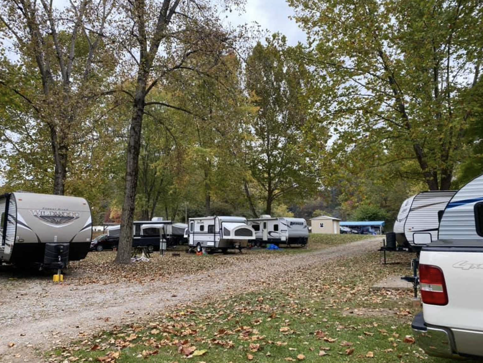 RVs parked at campground in fall