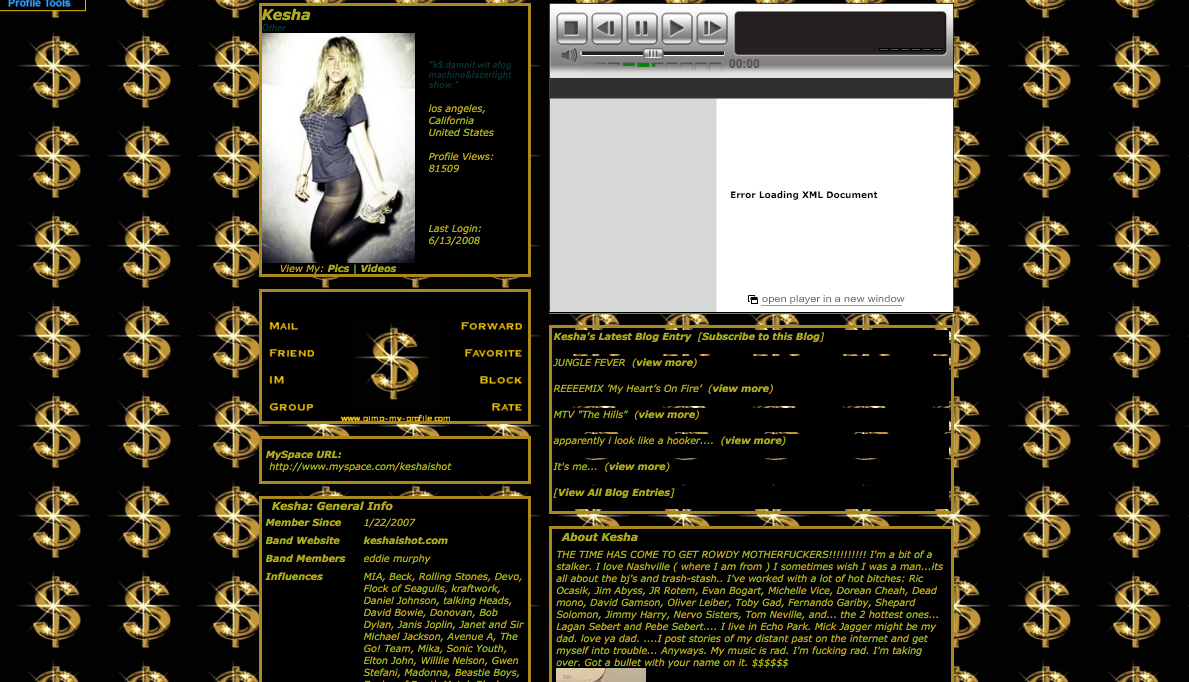 kesha 39 s myspace profile from 2008 is better than dj khaled. Black Bedroom Furniture Sets. Home Design Ideas