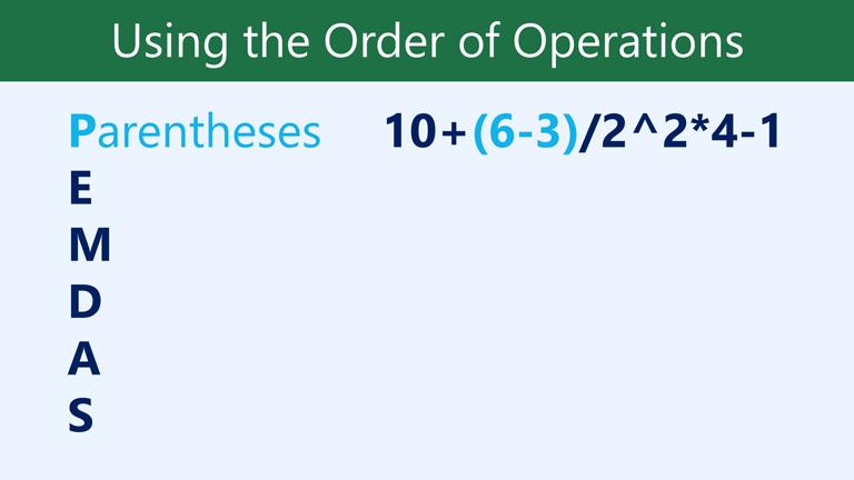 P parentheses: 10+(6-3)/2^2*4-1