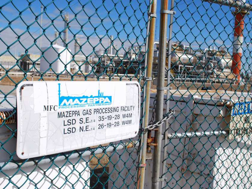 The Mazeppa facility sits dormant on March 30 as Alberta's energy watchdog proceeds with action enforcement that includes forcing the plant's licensee, Lexin Resources, into receivership.