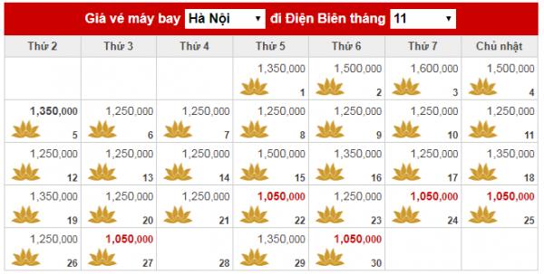 Giá vé máy bay đi Điện Biên