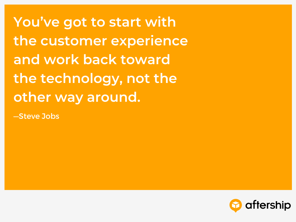 Steve Jobs quote about starting with the customer experience and working back toward the technology