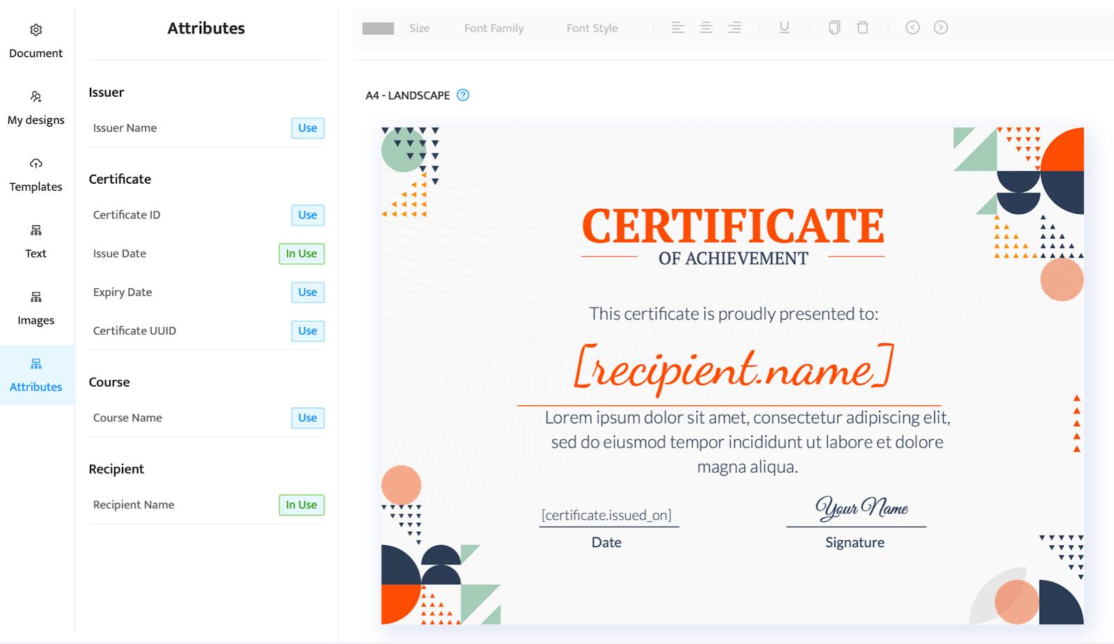 Certifier dashboard - add attributes to design