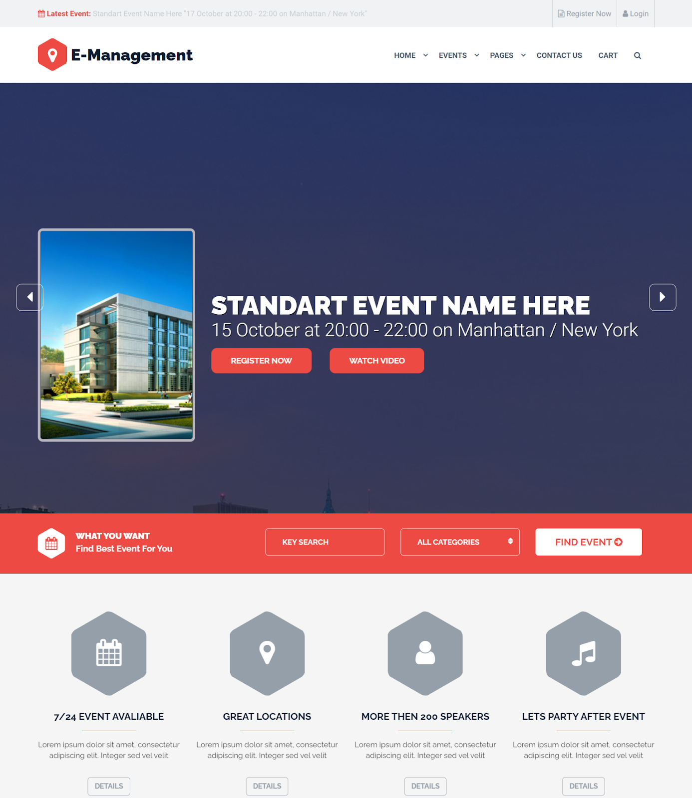 Event management wordpress conference theme