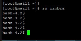 bash-4.2 when running su zimbra