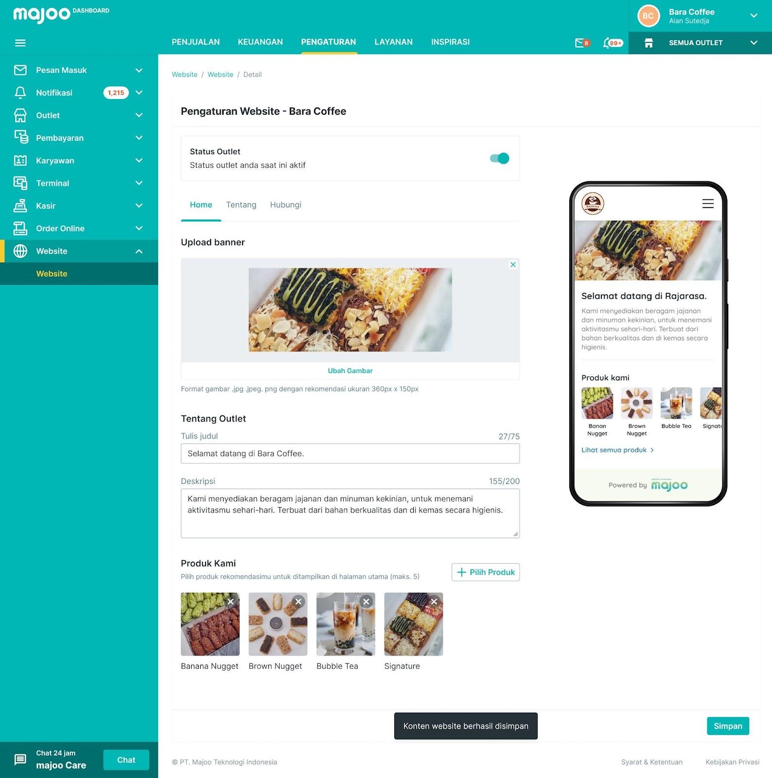 Aplikasi kasir online yang dilengkapi dengan fitur order online untuk mempermudah pengelolaan bisnis.
