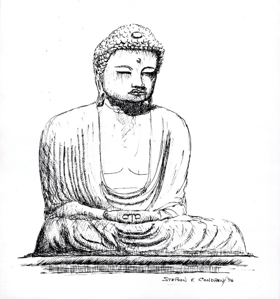 Pen & ink drawing of Daibutsu Kamakura, Japan.